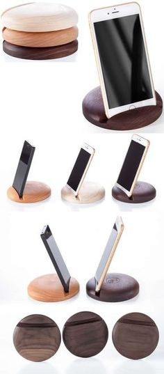 Wooden iPhone iPad SmartPhone Holder Stand Mount for iPhone iPad and Other Cell Phone