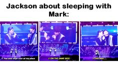 """""""tfw mark looks at jackson like he's the one and only other person that exists for him"""" Markson Got7, Yugyeom, Youngjae, Mark Jackson, Got7 Jackson, Jackson Wang, Got7 Meme, Got7 Funny, Hilarious"""
