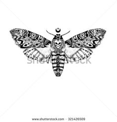 Detailed Dead head MOTH in ethnic (boho) style.