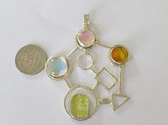 Abstract Sterling SilverDichroic Glass Pendant Large Geometric Statement Piece 100% Handmade by MaroonedJewelry on Etsy