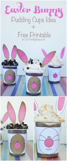This is such a fun idea for an Easter or Spring party. Use the free printable provided to create a face on the pudding cups, and put the ears on toothpicks to put in the top! #SnackPackMixIns #Ad