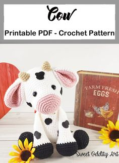 Crochet animals 117797346491116299 - Cow Crochet Patterns – – A More Crafty Life Source by Crochet Sloth, Crochet Penguin, Crochet Cow, Crochet Elephant, Cute Crochet, Doilies Crochet, Kids Crochet, Crochet Animal Patterns, Stuffed Animal Patterns