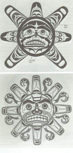 Depiction of West Coast Native Sun design by Kwakiutl artists Larry Rosso and Tony Hunt. I would like the second one on the left side of my chest. Native Art, Native American Art, First Nations, Art Haïda, Native Tattoos, British Columbia, Haida Art, Tlingit, Inuit Art