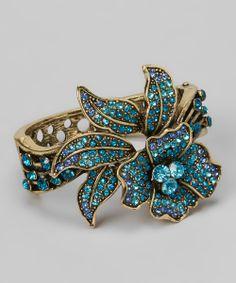 Teal & Gold Hibiscus Flower Bracelet
