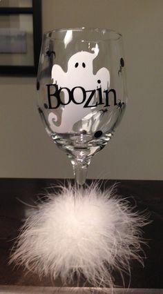 Wine Glasses - Boozin Booze Ghost Halloween Diva Wine Glass by DentalDivalicious