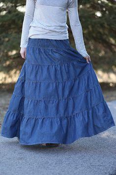 ae2bda41e71 Tiered Denim Modest Skirt
