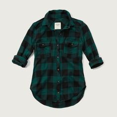 Abercrombie & Fitch Plaid Twill Shirt (550 ARS) ❤ liked on Polyvore featuring tops, red check, plaid shirt, green shirt, tartan shirt, button up shirts and plaid button up shirts