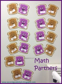 Math Partners using Dollar Tree cut outs - Second Grade Style