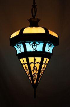 Stunning Antique Art Nouveau Lantern with Original Blue & Amber Slag Glass