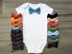 Baby Boy Clothes, Bow Tie Onesie - Choose One Color
