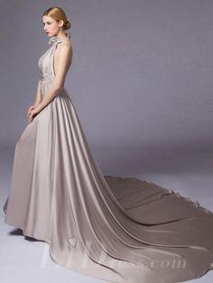 Halter Neckline A-line Evening Dress
