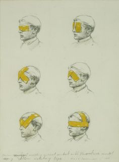 Various ways of avoiding visual contact with the outside world using yellow isolating tape by Michaël Borremans, pencil and watercolor on cardboard, 1998