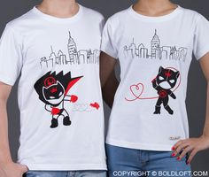 """They say opposites attract, and here's the proof! Naughty and nice fit together perfectly when love plays a role. Show him he's your hero with this clever couples t-shirts set, or show her that her bad-girl side is part of what you love. Tell your sweetie """"We are Irresistibly Attracted!"""" BoldLoft """"We're Irresistibly Attracted"""" Matching Couple Shirts. #BoldLoft #MatchingCoupleShirts"""