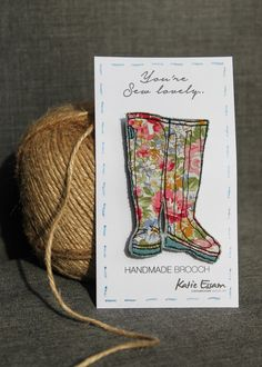 Textile Wellie Boot Brooch £9.75