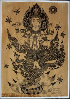 Thai traditional art of Vishnu by printing on by AmornGallery