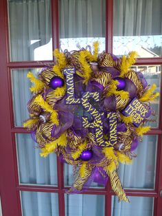 LSU Tigers Deco Mesh Door Wreath by CrazyboutDeco on Etsy, $69.00