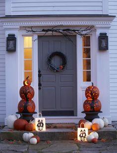 pumpkin decorating for front door www.thedailybasics.com !