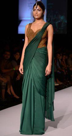 Bottle green Shammo Silk Saree with full length stomach covered saree blouse with all over bronze beads Drape Sarees, Saree Draping Styles, Saree Styles, Viria, Indian Dresses, Indian Outfits, Saree Gown, Silk Lehenga, Anarkali