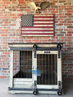 Urban farmhouse design indoor dog kennel! Barn door rollers to boot! This a gorgeous piece of furniture for your home!