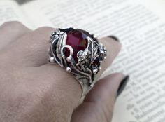 Gothic Ring Garnet Red Ring by ApplebiteJewelry Gothic Rings, Gothic Jewelry, Red Rings, Silver Rings, Alternative Fashion, Alternative Style, Black Jewel, Garnet Rings