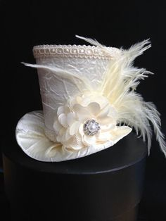 Hats for Women: Ivory Crushed Satin Mini Top Hat With for Wedding,...