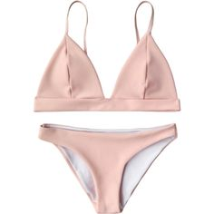 Cami Plunge Bralette Bikini Top And Bottoms Pink (75110 PYG) ❤ liked on Polyvore featuring swimwear, bikinis, swimsuit, pink camisole and pink cami