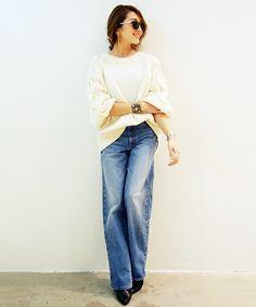 ワイドデニムパンツ denim jeans wide pants outfit styling デニム ワイドパンツ