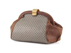 Grey Leather Purse / Brown Textured Clutch by EllenRubenBagsShoes, $199.00