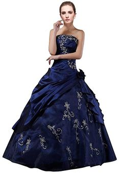 Amazon.com: DLFashion Strapless A-line Embroidered Taffeta Prom Dress S-6 Blue: Clothing
