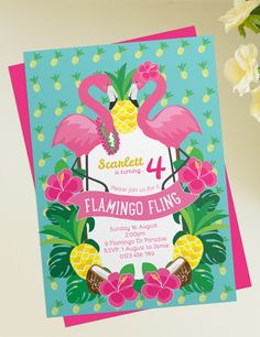 A bright printable Flamingo & Pineapple Invitation for a flamingo, pineapple, tropical or Hawaiian luau inspired birthday! These colours pop with pink, Aqua and yellow! Change the words in the banner to Let's Flamingle, Pool Party or which ever you choose!
