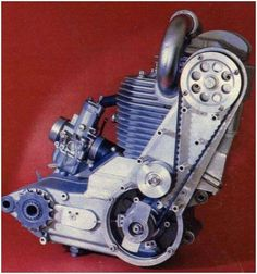 MAICO 4-stroke Motor- Case reed induction, belt-driven SOHC, premix fueled.  Never graduated from prototype status.