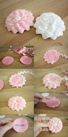 Comments in Topic Ribbon Art, Diy Ribbon, Ribbon Crafts, Flower Crafts, Making Fabric Flowers, Felt Flowers, Diy Flowers, Flower Making, Flower Embroidery Designs
