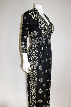 cb91dd1545 Maurice Vintage 1970s Black Op Art Signed Maxi Day Dress - 34 bust 1970s  Dresses