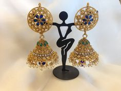 Fabulous Golden Earrings With Big Jhumka Golden Earrings, Pearl Earrings, Special Events, Diamonds, Gemstones, Chic, Stylish, Jewelry, Shabby Chic
