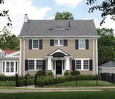 new ideas house exterior paint colors porticos Colonial House Exteriors, Colonial Exterior, Grey Exterior, Exterior Shutters, Exterior Design, Farmhouse Shutters, Ranch Exterior, Modern Colonial, Bungalow Exterior