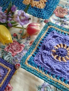 Patchwork heirloom crocheted blanket, double-sided, one of a kind, available at www.nancysaid.com