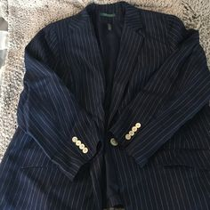 Ralph Lauren Blazer navy and white stripe Ralph Lauren blazer with button detail on sleeve. size 16 Ralph Lauren Jackets & Coats Blazers