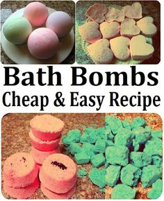 DIY Bath Bombs Recipe, How to Make Spa Products CHEAP, EASY & QUICK! More Spa DIYs on www.MariaSself.com Homemade Gift Idea for Saint Valentine's Day, Birthday, Mother's Day or Christmas