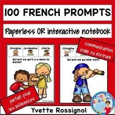 100 French Writing Prompts (Paperless or interactif notebo French Teaching Resources, Teaching French, Paragraph Writing, Writing Prompts, Communication Orale, Creative Writing Ideas, French Immersion, French Language Learning, Learn French