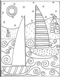 sailboats hooked rug designs+ primative house - Google Search