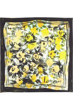 The Flora Print Pony Tail Scarf Yellow Theme 100/%  Silk Twill