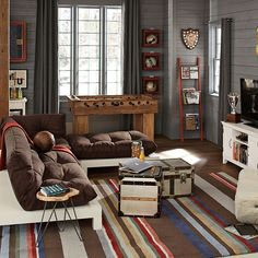 I love the colors in this room.  Pottery Barn Teen Foosball Table http://www.pbteen.com/products/fooseball-table/?cm_src=AutoRel