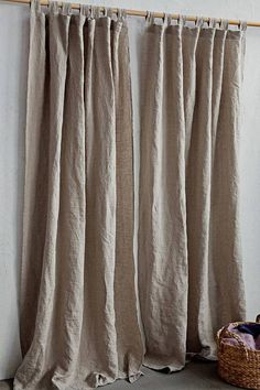 Tab Top Color Block Stonewashed Linen Curtain. Custom sizes. 12 colors.