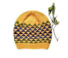 Knit Hat Pattern, Triangles Kid and Adult Hat Knitting Pattern PDF, Aran Yarn Knit Cap Design, Knitted Beanie Tutorial Knitted Hats Kids, Hand Knitted Sweaters, Kids Hats, Beanie Pattern, Knit Beanie Hat, Slouchy Hat, Beanies, Fair Isle Knitting, Hand Knitting