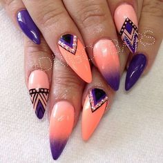 36 Simple Acrylic Stiletto Nails For Summer 2019 - Nail Polish Ideas Fabulous Nails, Gorgeous Nails, Fancy Nails, Trendy Nails, Hot Nails, Hair And Nails, Manicure E Pedicure, Nail Swag, Purple Nails