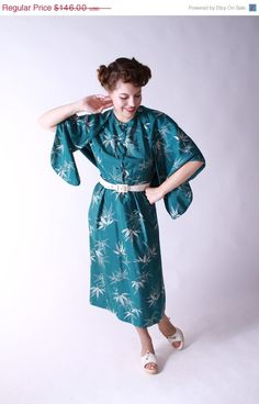 Vintage 1950s Dress - Bamboo Print Silk Wiggle Dress with Matching Shawl