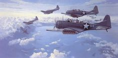 June 4th, 10 a.m.- Douglas SBD Dauntless dive bombers begin peeling off for their dives toward the Japanese carriers during the Battle of Midway.