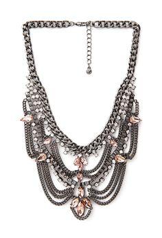Tiered Rhinestone Bib Necklace | FOREVER 21 - 1000138304