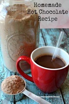 Homemade hot chocolate recipe - we keep the jar right next to the Keurig and the kids can make their own!