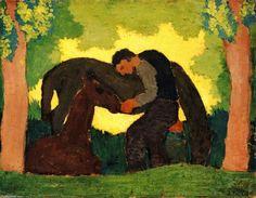 Man avec deux chevaux, huile sur panneau de Edouard Vuillard (1868-1940, France)